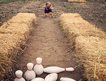 Hay Bale Bowling Alley at C&C Reading Farm